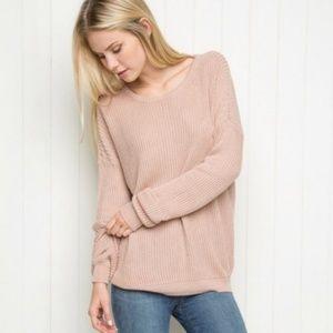 Brandy Melville Cozy Knit Sweater Dusty Pink Tan
